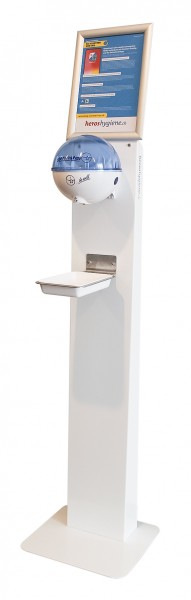 Touchless disinfection column stainless steel with Germstar ball