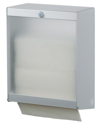 Papierhandtuchspender Interfold Aluminium transparent 750 Blatt