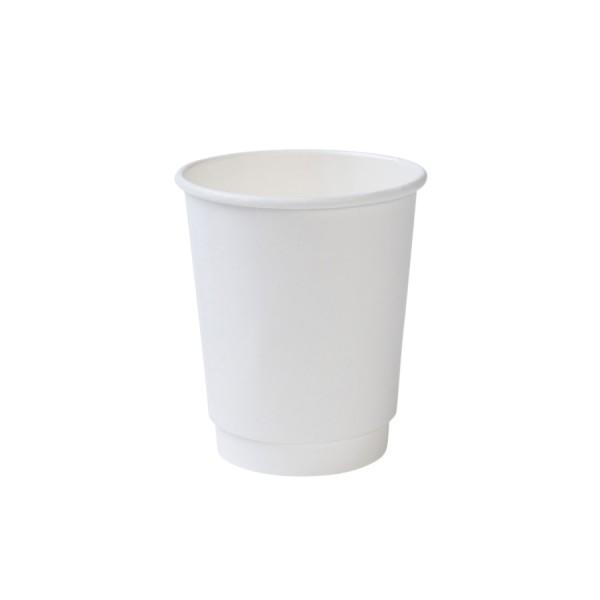 Bio Kaffeebecher doppelwandig weiss (200ml, 300ml, 400ml)