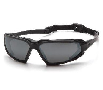 Safety goggles Highlander,black frame, red mirrored lenses