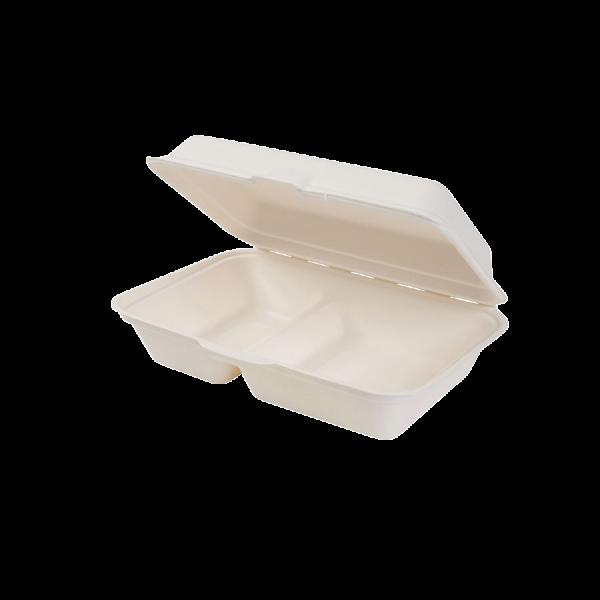 Bio Klappdeckelbox 2-Kammrig 650ml