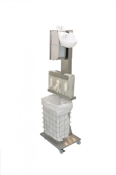 Mobile Hygiene-Station Edelstahl Set